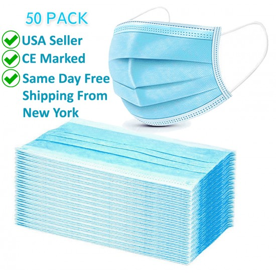 50 Pcs Disposable 3-Ply Face Mask Anti-Dust Protection Multi Purpose Breathable Pack